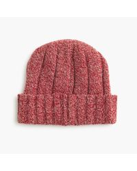 J.Crew | Red Ribbed Wool Watchman Cap for Men | Lyst