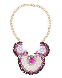 Fragments | Purple Beaded Flower Bib Necklace | Lyst