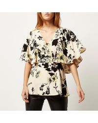River Island - Pink Floral Print Frill Cape Top - Lyst