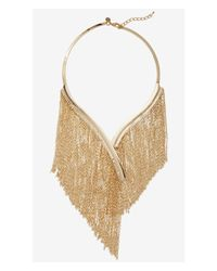 Express | Metallic Gold Fringed Collar Necklace | Lyst