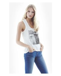 Express White One Eleven Graphic Trapeze Tank - Now Or Never