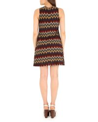 Izabel London - Red Knitted Swing Dress With Chevron Print - Lyst