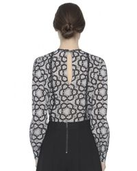 Alice + Olivia - Gray Angeline Pintuck Blouse - Lyst