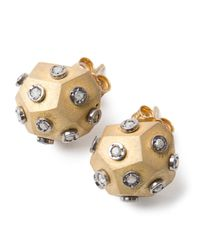 Amedeo | Metallic Diamond Ball Earrings | Lyst