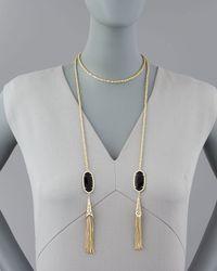 Kendra Scott | Black Megan Lariat Necklace | Lyst