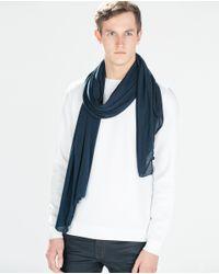 Zara | Blue Plain Scarf for Men | Lyst