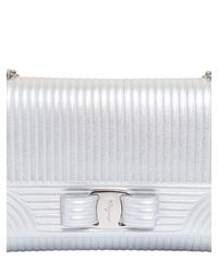 Ferragamo | Textured Metallic Leather Shoulder Bag | Lyst