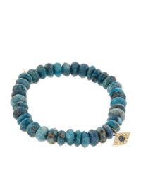 Sydney Evan 8mm Faceted London Blue Quartz Beaded Bracelet With 14k Gold Pyramid Evil Eye Charm