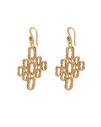 Diane von Furstenberg Metallic Chainlink Cluster Gold-Plated Earrings