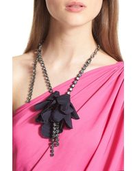 Lanvin - Blue Asymmetrical Flower & Chain Necklace - Lyst