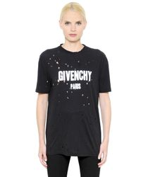 Givenchy Black Logo Printed Destroyed Jersey T-shirt