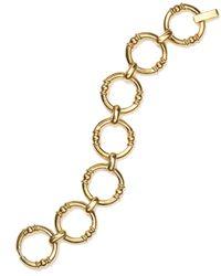 Lauren by Ralph Lauren Metallic Gold-Tone Round Textured Link Bracelet