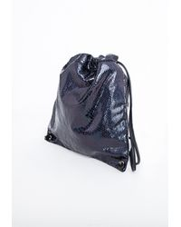 Missguided - Fizz Hologram Croc Effect Drawstring Backpack Black - Lyst