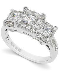Macy's - Diamond Three-stone Ring In 14k White Gold (1-1/2 Ct. T.w.) - Lyst