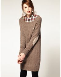 Fred Perry - Brown Donegal Long Line Jumper - Lyst