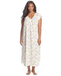 Carole Hochman | Gray Floral Print Cap Sleeve Long Nightgown | Lyst