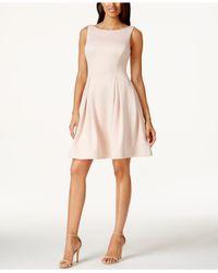 Calvin Klein Pink Boat-neck Fit & Flare Scuba Dress