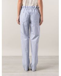 Adam Lippes Blue Striped Trousers