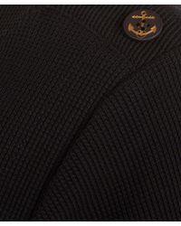 A.P.C. Blue Navy Gold Button Detail Cotton Knit Jumper