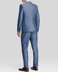 BOSS - Blue Hugo Aeron Hamen Fil-a-fil Suit - Extra Slim Fit for Men - Lyst