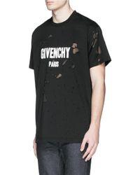 Givenchy Black Logo-Print Distressed Cotton T-Shirt for men
