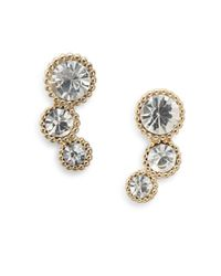 Ak Anne Klein | Metallic White Stone Arc Stud Earrings | Lyst