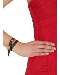 Alexander McQueen | Black Skull Embellished Leather Wrap Bracelet | Lyst