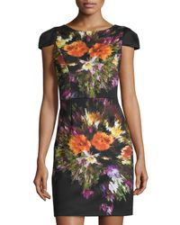 Maia - Black Floral-print Cap-sleeve Scuba Dress - Lyst