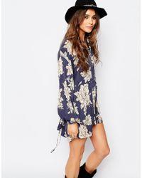 8f3adffe57bd8 Free People Shake It Printed Mini Long Sleeve Dress in Blue - Lyst