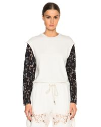 3.1 Phillip Lim White Lace Organza Sweatshirt