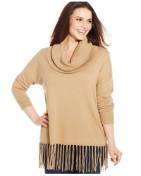Michael Kors | Natural Michael Plus Size Fringed Cowl-neck Sweater | Lyst