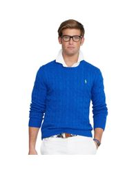 Polo Ralph Lauren | Blue Cable-knit Cotton Sweater for Men | Lyst
