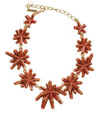 Oscar de la Renta | Red Anemone Resin Necklace | Lyst