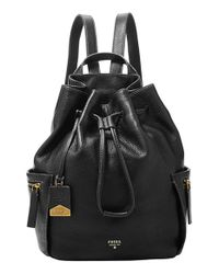 Fossil | Black 'vickery - Large' Drawstring Leather Backpack | Lyst