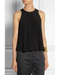 T By Alexander Wang Black Leather-Trimmed Double-Layered Crepe Top