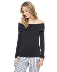 Splendid Black Sandwash Jersey Off Shoulder Tunic