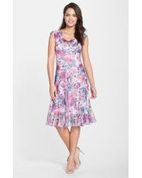 Komarov | Pink Print Chiffon & Charmeuse A-line Dress | Lyst