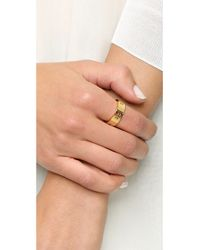 Tory Burch Metallic Pierced T Ring - Shiny Gold