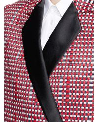 Victoria Beckham Ribbon Check Satin Lapel Tailored Coat