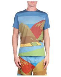 J.W.Anderson - Blue Landscape Printed Cotton T-Shirt for Men - Lyst