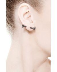 Runa - Dog Bone Single Stud Earring with Black Diamonds - Lyst