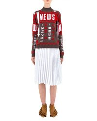 J.W.Anderson Red News Mockneck Sweater