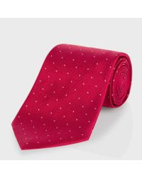 Paul Smith Red Micro Polka Dot Classic Silk Tie for men