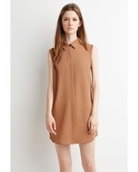 Forever 21 | Brown Collared Shift Dress | Lyst