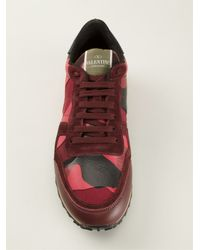 Valentino | Purple Rockrunner Paneled Camouflage Low-Top Sneakers | Lyst