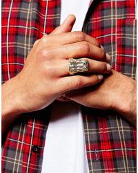 ASOS - Metallic Crocodile Ring In Gold for Men - Lyst