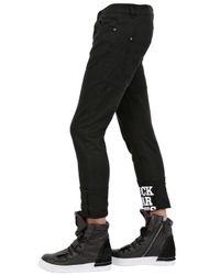 Frankie Morello Black 17cm Cotton Gabardine Jeans for men