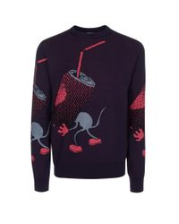 Paul Smith - Blue Navy Trash Mouse Intarsia Cotton-Blend Sweater for Men - Lyst