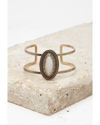 Forever 21 | Metallic Cutout Faux Stone Wrist Cuff | Lyst