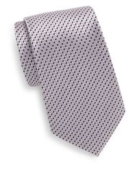 Saks Fifth Avenue - Pink Boxed Neat Stripe Silk Tie for Men - Lyst